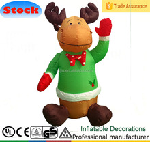 Airblown 4 ft Christmas Cute Smiling Reindeer Inflatable Moose/Deer with Red Tie Lighted Airblown