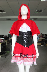 Instyles Quanzhou manufacturer ladies womens red black corset top red ridding hood storybook fancy dress
