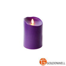 Moving Flame Outdoor Candle Purple Resin Battery Operated Candle - Timer and Remote Ready