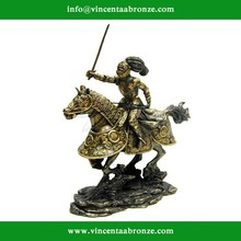 Bronze Armored Knight and Horse Charging with Sword Medieval Sculpture