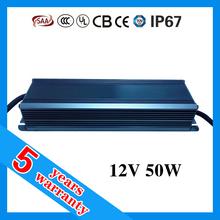 5 years warranty CE RoHS TUV SAA UL waterproof IP67 50W 12V LED driver with PFC