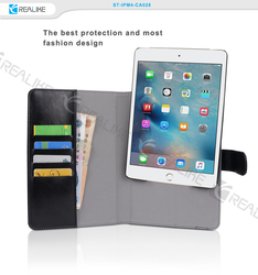 High quality leather tablet case wallet style case for ipad mini 4
