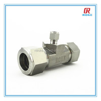 stainless steel 316L double-ferrule connection 3 way tube fitting / reducing tee
