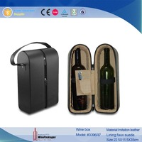 zipper closure two bottles leather wine carrier