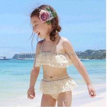 Sexy Girl Halter Neck Fashion Lace Design Triangle Swimwear Bikini Models For Kids