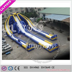 giant inflatable water slide/commercial hippo slide/largest inflatable three lanes wet slide
