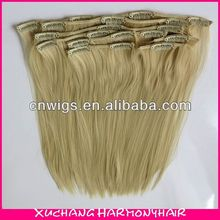 Top quality Clip Synthetic Hair extension/24 inch Clip in Synthetic Hair extensions/Synthetic Clip in Hair extensions