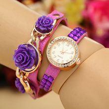 7 Colors New Fashion Resin Flower Rhinestone Quartz Watch Women Dress Watches Leather Bracelet Clock relogio feminino