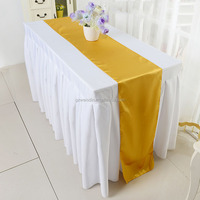 wholesale rectangle 100% polyester ruffled table skirting designs for wedding
