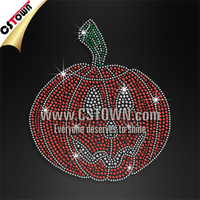 Red pumpkin with ghost face iron on rhinestone motif for thanksgiving