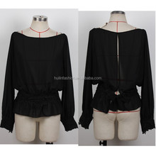 OEM wholesale blouse top type women long sleeve chiffon blouse