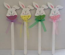 promotion design good quality popular easter decoration wooden rabbit picks stick decoration