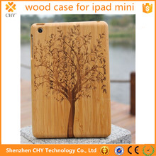 Mobile accessories Natural Wood Wooden Hard Walnut Bamboo Carving Case Cover For ipad mini