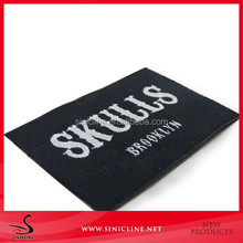 Sinicline Free Sample Woven Clothing Labels With Black Base And White Logo