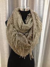 Fashion ladies Beige tube scarf with golden stripes