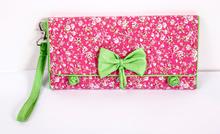 handcrafts cotton fabric foldable bowknot wallet,jade bead knot latest design 3 fold ladies and man purse phone notecase handbag