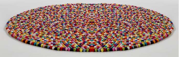 how to make wool felt ball rug