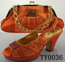 Orange Custom Italian Shoes And Bags To Match Women 10 cm high heel shoes