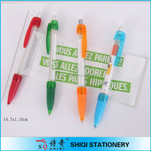 soft grip plastic ball pen with banner