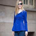 Hjc-c8360 veri gude la nueva primavera 2015 las mujeres de moda a largo- manga falsos dos piezas jersey camisa de vestir