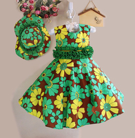 green flower dress for Xmas party with sun helmet baby girl frocks for party printed flowers dress with lovely cap