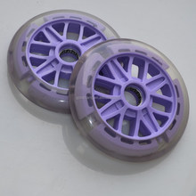 High rebound transparent polyurethane skateboard wheels caster , kids scooter big wheels with purple PP core in 125x24mm