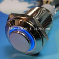 16mm 12V Blue LED Light Ring Self-return Switch Stainless Steel Reset Push Button Metal Switch for Car SUV Vans Truck Boat Refit