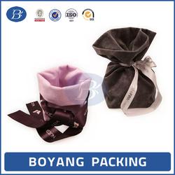 fancy velvet ribbon tie custom gift bag with logo