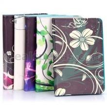 Side Flip Stand TPU+ PU Leather Case for iPad Mini / iPad Mini 2 Retina / iPad Mini 3 with Elastic Belt(Pink Flower on White Bac