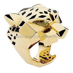 Gold-Tone Leopard Head Ring Man Woman Cocktail Ring Green Zircon Eyes