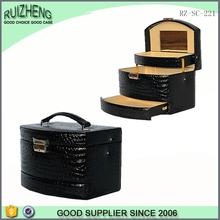 Wholesale cheap black fashion hand box with mirror makeup case organizer