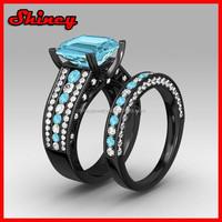 925 sterling silver black gold wedding engagement set aquamarine cz ring