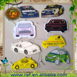 2015 New fashionable logo pringted Customized design Promotional hanging car shape top-new DIY funnypaper car air freshener