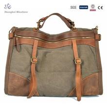 Retro canvas men handbag with trim leather