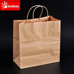 Custom printed brown kraft paper carry out bag for hot food