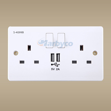 5V 2A USB Wall Socket UK Style 250V 13A 2 Ways with Switch India Singapore Malaysia Yemen Zimbabwe