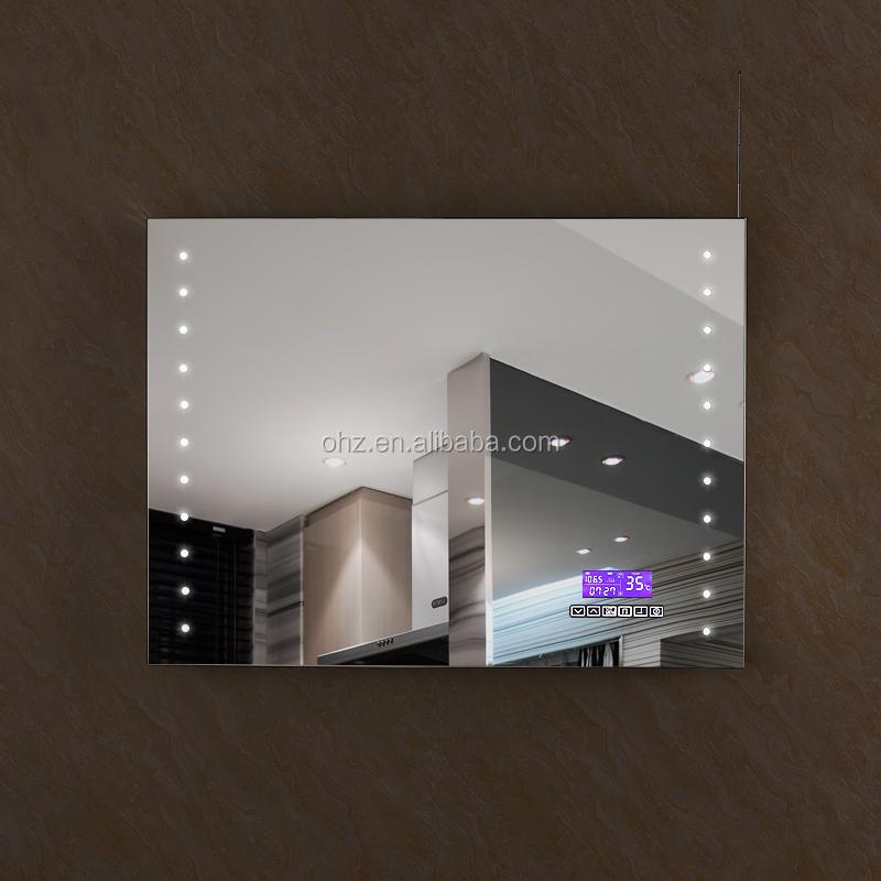 2016 vente chaude salle de bains mur miroirs avec led horloge temprature radio - Miroir Salle De Bain Antibuee Radio