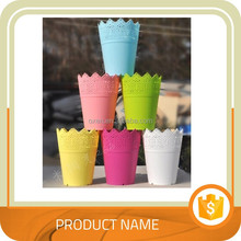 Hollow Edge Plastic Flower Pot with Tray For Home Garden Decor