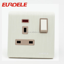 British standard brushed white aluminum plate 13A wall switch and socket
