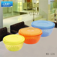 china supply wh576 round plastic container kit 3pcs for food warteproof box BPA free glass food crisper twin-colors