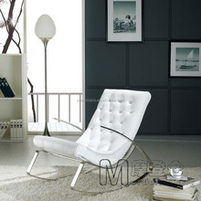 Living room furniture leather with metal rocking chair