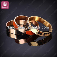 leopard print jewelry leather bracelet OEM wholesale expandable bangle