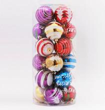 barrelled 6cm hand printable christmas ball popular shiny plastic christmas ornaments in bulk