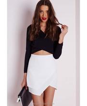 2015 Summer Fashion White Asymmetric Wrap Short Latest Skirt Design Pictures