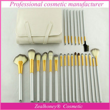 Hot selling professional gold ferrule makeup brush set 24 pcs in synthetic hair with white Leather cosmetic bag