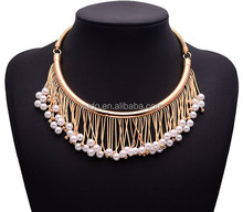 latest design pearl necklace gold plated chain with pearls pendant necklace wholesale