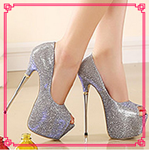 The new arrival metal super high heel glitter shoes rubber evening shoes for women
