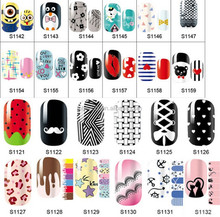 New Arrived 3D full covered 14pcs/sheet Nail Polish Stickers self-adhesive nail wraps