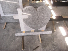 Heart Shaped and Cross Granite Tombstone