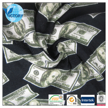 Dollar Printed Modal Single Jersey Cotton Fabric for T-shirts Garment